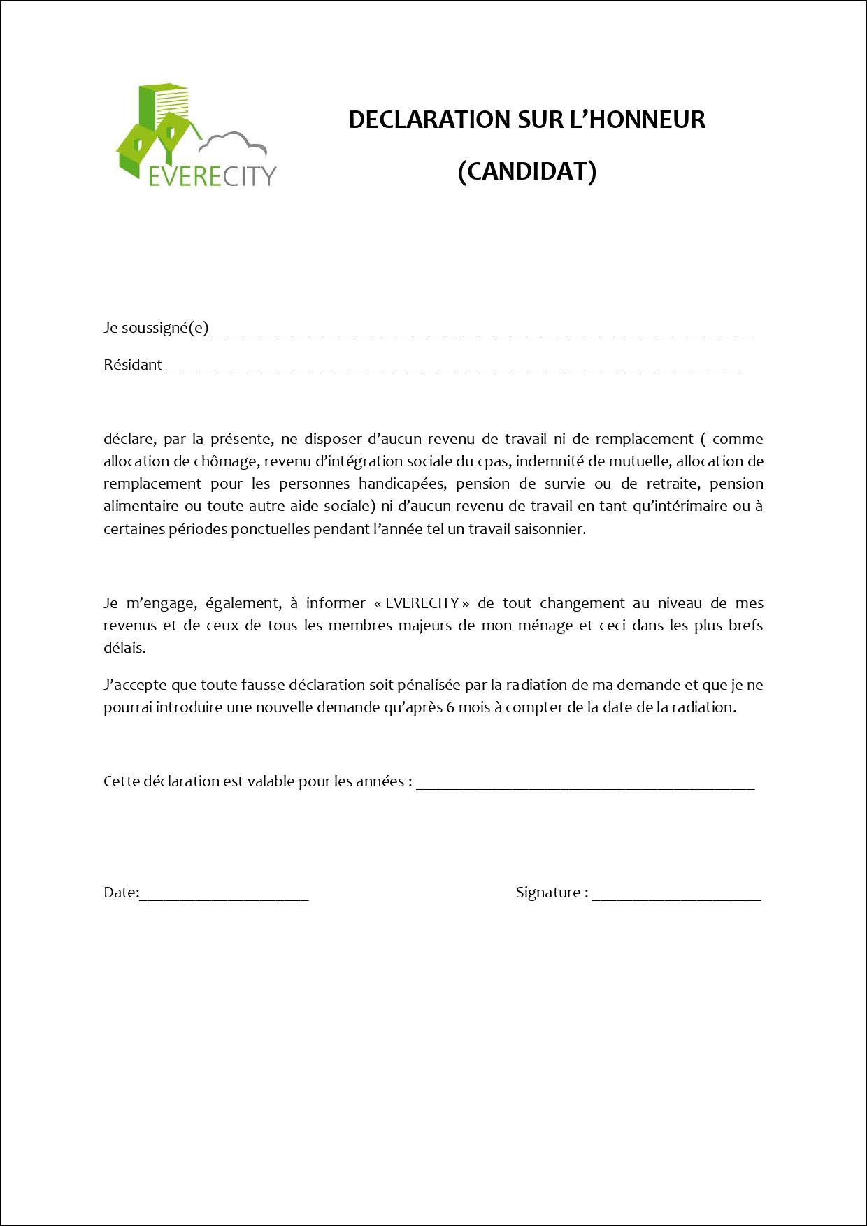 Déclaration sur l'honneur - Candidat