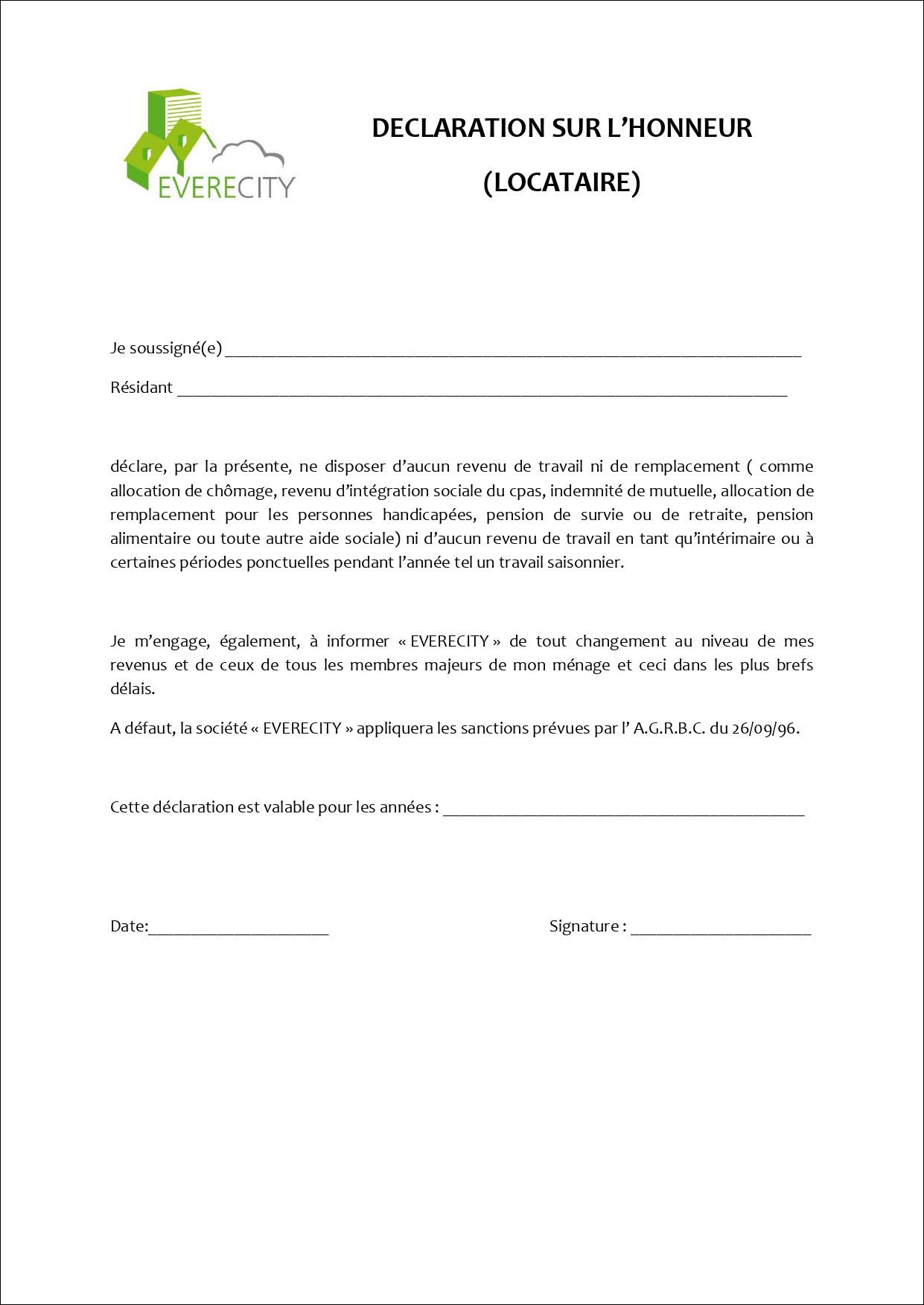 Déclaration sur l'honneur - Locataire
