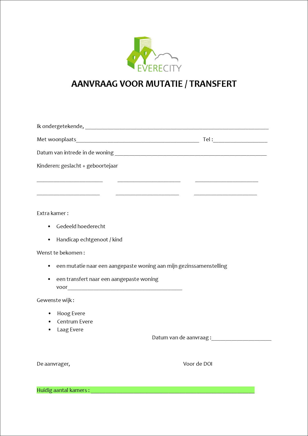 Aanvraag voor mutatie/transfert
